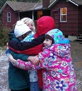 Quadruple hug close-up